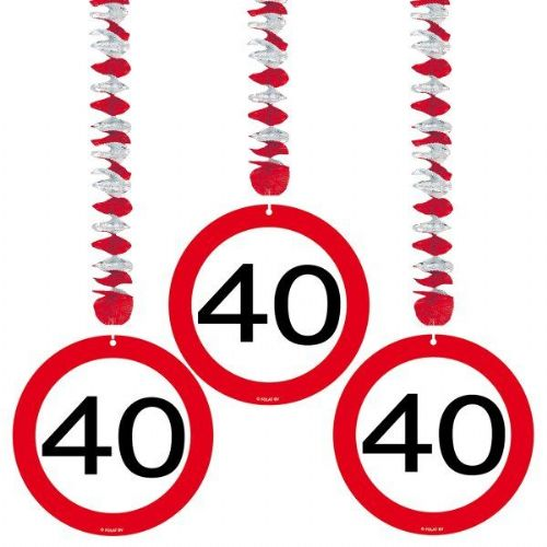 Traffic Sign 40th Party Hanging Decor 3 Birthday Decoration